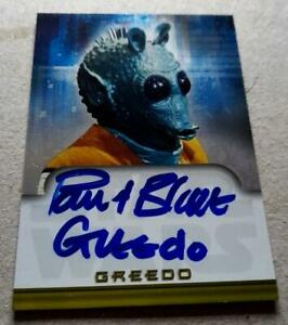 Star Wars Evolution Hand Signed Autograph Card Paul Blake As Greedo  Topps 2001