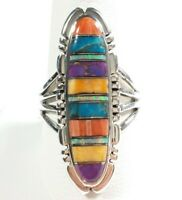 925 STERLING SILVER ELONGATED ETCHED SPINY OYSTER OPAL TURQUOISE SIZE 11 RING