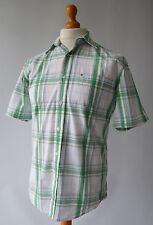 Para hombre verde y blanco cuadros Tommy Hilfiger Camisa Manga Corta, Talla S, pequeña.