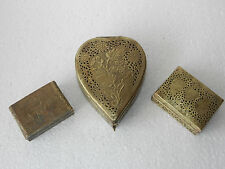 3 Pc Fine Old Jali Cut Floral Engraved Rectangular & Heart Shape Jewellery Box