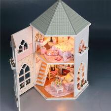 DIY Huge Wooden Dolls House Castle Kit With LED Lights Decoration Dollhouse Gift