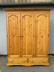 Modern Solid Pine Triple Wardrobe with Drawers