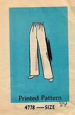 1960's VTG Mail Order Misses' Pants Pattern 4778 Waist 29 UNCUT