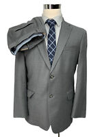Tommy Hilfiger Mens Solid Gray Flannel Wool 2 Piece Suit 40R Jacket 34/32 Pants