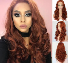 """24"""" Copper Red Full Head Glueless lace front wigs Long Curly Wavy"""