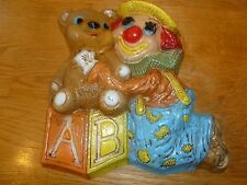 Home Interior Vintage Clown with Bear Setting on a Block Wall Plaque