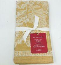 Williams Sonoma Holiday Floral Jacquard Cloth Napkins Set of 4 Gold Christmas