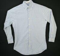 Peter Millar Mens Button Down Shirt Medium Blue Green Plaid Cotton Long Sleeve M