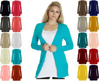 New Style Womens Ladies Long Sleeve With Pockets Boyfriend Cardigan UK Size 8-24