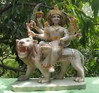 Goddess Durga Sculpture Antique Marble Statue 33 lb India Shiva Parvati Ganesha
