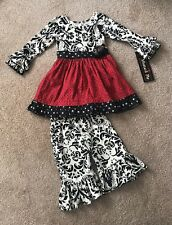 """NWT Mustard Pie """"Enchanted Holiday Olivia Dress Set"""" 2 Piece Outfit 24 Months"""