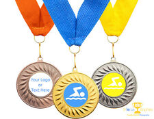 10 x  Swimming Medals Personalised + Ribbon + FREE DELIVERY