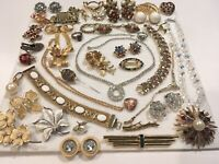Vintage Necklace Pin Bracelet LOT Jewelry Coro Trifari Gold Filled Signed & Un