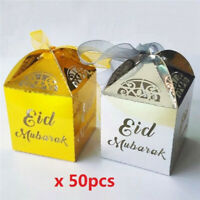 50Pcs Happy Eid Mubarak Candy Gift Box Ramadan Decoration Islamic Party Supplies