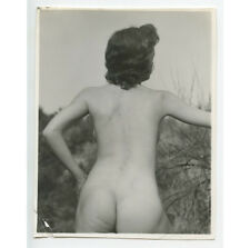 VINTAGE PIN UP PHOTO BUSTY NUDE WOMAN BACK OUTDOORS ADULT ONLY ITEM