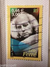 FRANCE 2001, timbre 3392, LEO FERRE, ARTISTES DE LA CHANSON, oblitéré