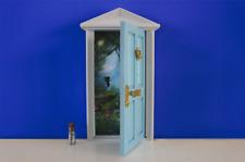 Opening blue Fairy / elf door wooden miniature tooth fairy great gift idea