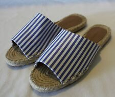 WITCHERY ~ Summer White Blue Striped Canvas Rope Espadrilles Slides EU 36 AU 5