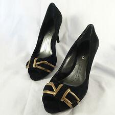 DYNKC Alicia Black Suede Peep Toe Plateform Gold Leather Trim Bow Heels