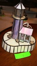 Stained Glass Lighthouse Lamp - Purple Tower with Cream Base (#1)