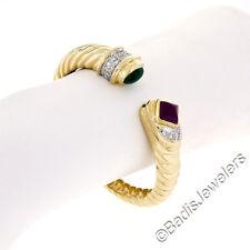 18ct oro amarillo cabujón Emerald rubí con 50ct Diamante ABIERTO Nervado
