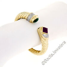 18K Yellow Gold Cabochon Emerald Ruby w/ .50ct Diamond Open Ribbed Cuff Bracelet