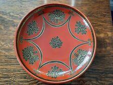 VINTAGE NORITAKE JAPAN - Rare Orange Glaze Decorative Bowl Black & Gilt Pattern