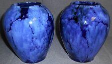EARLY 1900s Brush McCoy BLUE ONYX PATTERN Set (2) Bulbous Vases