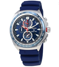 Seiko Prospex SSC489 World Time Chrono Blue Rubber 44.5mm Solar Men's Watch