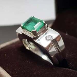 Natural Emerald rings Mens Emerald band Emerald wedding band Panjsher