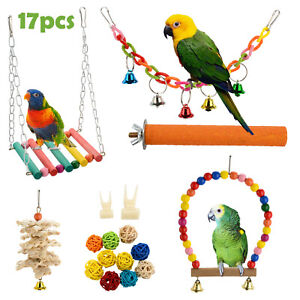 17pcs/set Beaks Metal Rope Small Parrot Toys Budgie Cockatiel Cage Bird Toy