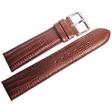 22mm deBeer Mens Havana Brown Teju Lizard-Grain Leather Watch Band Strap