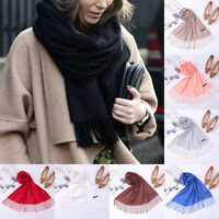 Women Cashmere Neck Wrap Scarf Winter Warm Soft Solid Long Pashmina Tassel Shawl