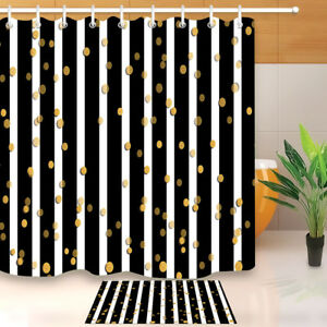 White and Black Stripes Gold Dots Shower Curtain Set Waterproof Fabric & 12Hooks