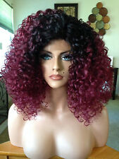 FREE SHIPPING * Lace Front Wig - Burgundy Ombre Spiral Curl Medium Hair