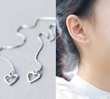 Damen Ohrringe Durchzieher Herz echt Sterling Silber 925 Ohrhänger Ohrstecker