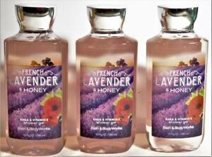 3 Bath & Body Works FRENCH LAVENDER & HONEY Shea, Vit E Shower Gel 10 oz
