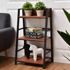 3 Tier Ladder Storage Book Shelf Wall Bookcase Bundle Modern Floor Decor