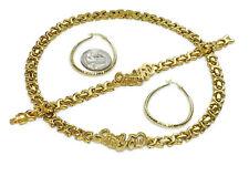 Gold Hugs Kisses I Love You Necklace,Bracelet & Hoop Earrings Stainless Steel