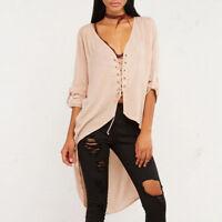 Women Sexy Lace Up Sheer Chiffon Casual T-Shirt Blouse Long Sleeve High Low Tops