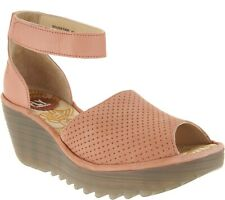 b06f0a72111 Fly London YAKE Perforated Leather Wedge Sandal Rose Size EU 40 US 9 - 9.5