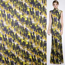 100% pure silk twill silk fabric very fashion yellow white blue print,STW075