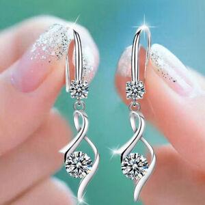 Fashion 925 Silver Drop Earrings for Women White Sapphire Jewelry A Pair/se