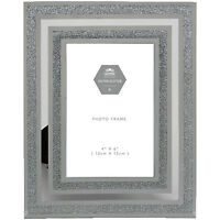 "Silver Sparkle Mirror & Glitter 4"" x 6"" Picture Photo Frame"