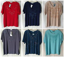 NEW WOMENS PLUS SIZES 16-22 SEQUIN GLITTER SPARKLE DETAIL T-SHIRT TOP PARTYWEAR