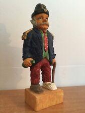 OLD MAN VTG  FIGURINE ceramic by TEC Figurines HTF Injured Leg Cane Rare