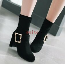 Chic Ladies Suede Med Block Heels Ankle Boots Dress Chic Boots Pull On Fashion