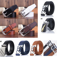 Luxury Men's PU Leather Automatic Ribbon Waist Strap Belt Waistband Black Buckle