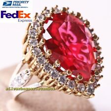 Handmade 925 Sterling Silver Nice Red Ruby Stone Ladies Womans Ring