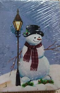 Small Festive Christmas Light up LED Canvas print with snowman